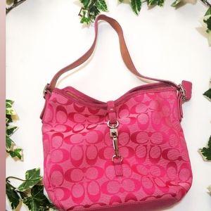COACH pink canvas hampton hobo a signature bag